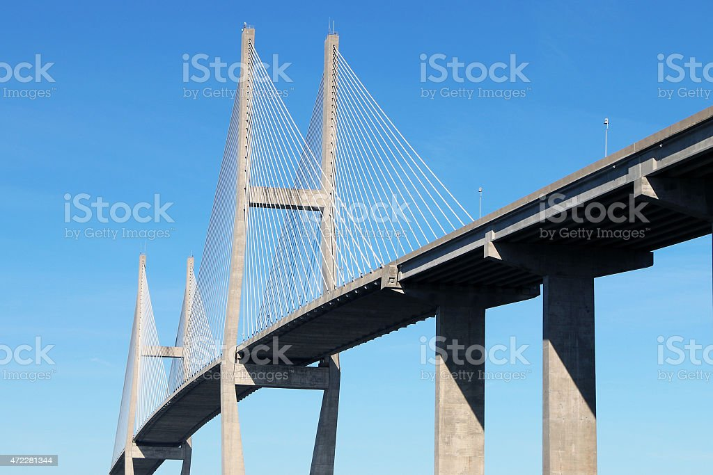Suspension bridge at Brunswick, GA stock photo