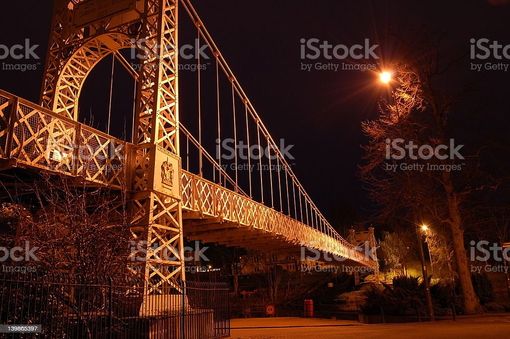 Suspension Bridge At Night royalty-free stock photo