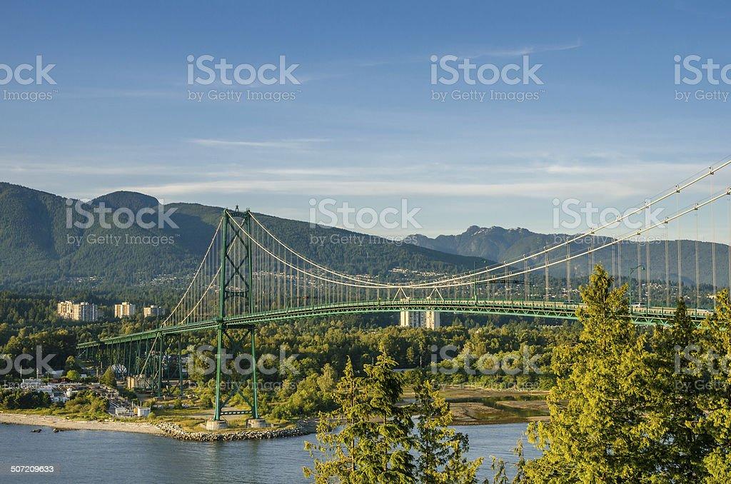 Suspension Bridge at Sunset stock photo