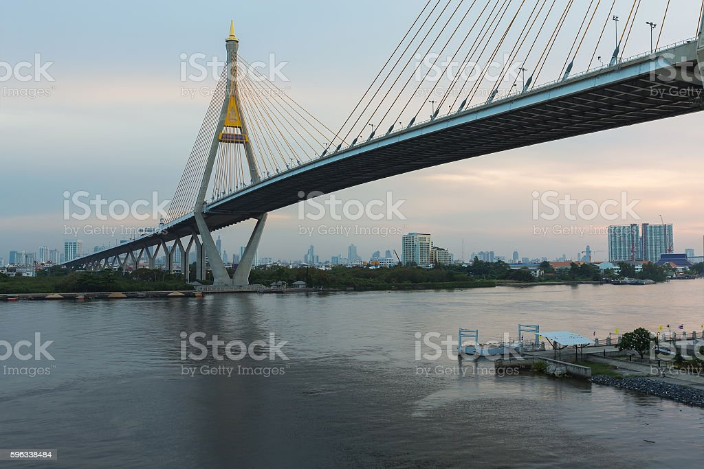Suspension bridge cross over Bangkok city main river royalty-free stock photo
