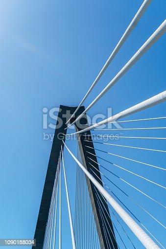 156725382 istock photo Suspension bridge detail and blue sky 1090188034