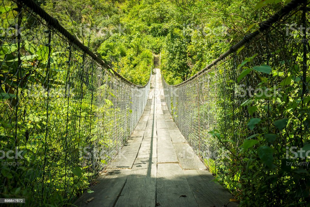 Suspension Bridge Guatemala stock photo