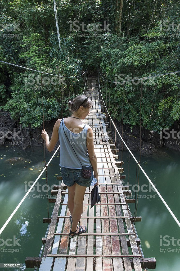 Suspension Bridge in Costa Rica stock photo