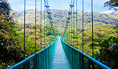 View of pedestrian suspension bridge in the jungles of Costa Rica.