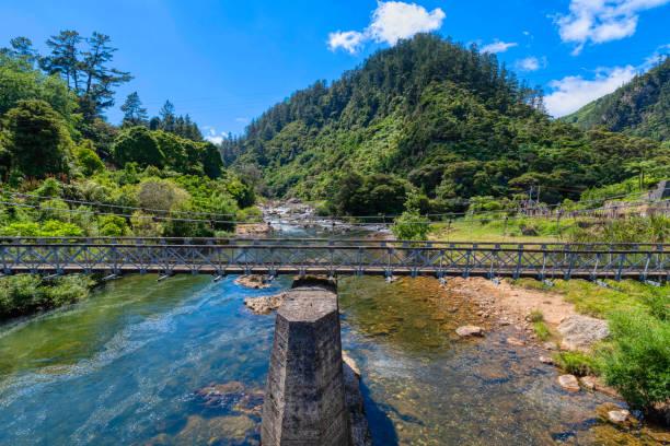 Suspension bridge in the Karangahake Gorge stock photo