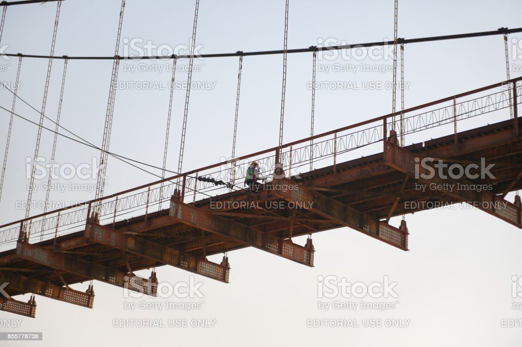 Suspension bridge kon klor, Kontum, Vietnam stock photo