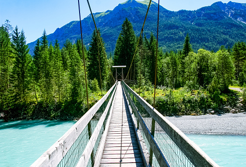 Suspension Bridge near Forchach, Lechtaler Alps, Tyrol, Austria