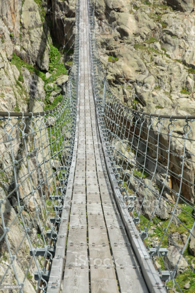 Suspension bridge near Gadmen stock photo