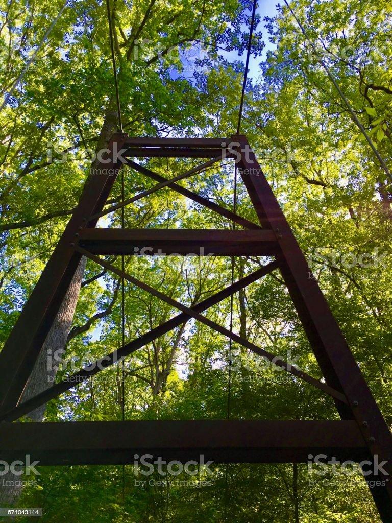 Suspension bridge on Peachtree Creek Fork stock photo