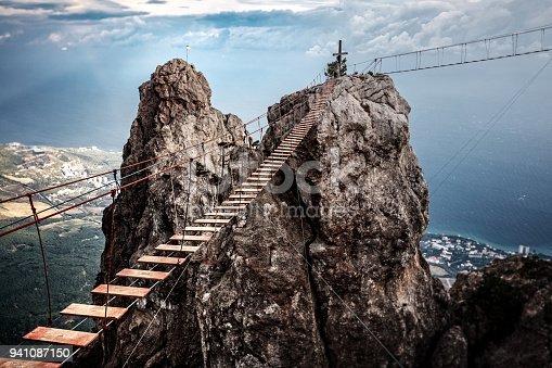 Suspension bridge on the Mount Ai-Petri in Crimea, Russia.