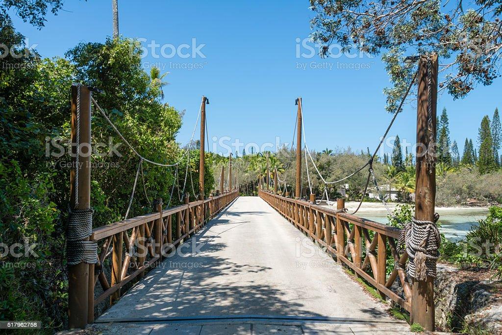 Suspension bridge over Oro Bay stock photo