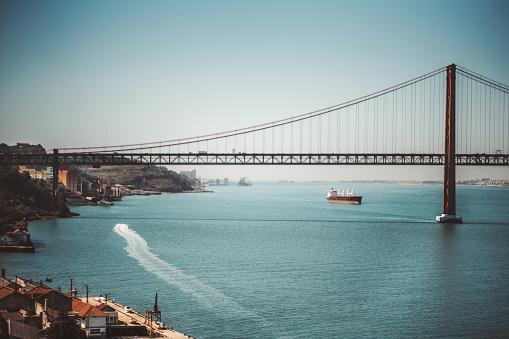 Suspension bridge over river, Lisbon