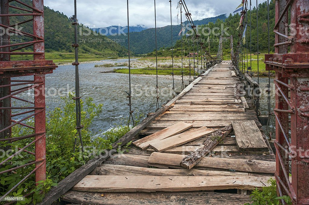 Suspension bridge over Sangti river, Arunachal Pradesh, India. stock photo