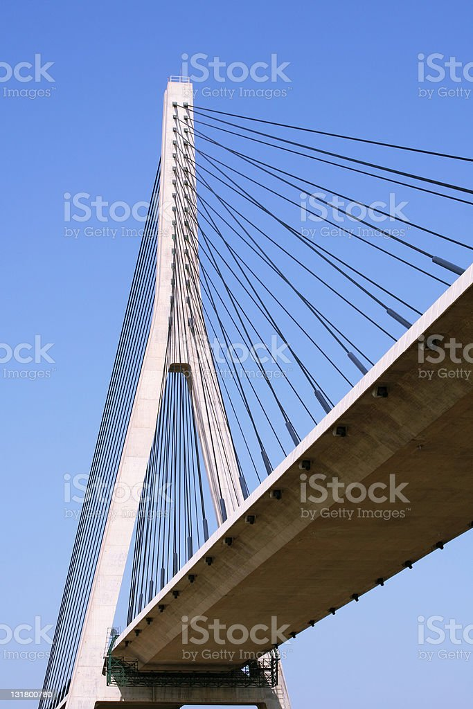 Suspension bridge over the Guadiana river royalty-free stock photo