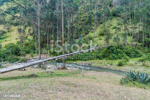 Suspension bridge over Toachi river near Quilotoa crater, Ecuador