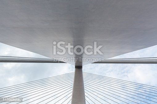 Low angle view of suspension bridge, Zhejiang, China.