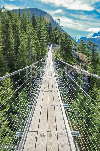 Suspension bridge at the summit of the newly built Sea to Sky Gondola in Squamish, British Columbia with views of Howe Sound