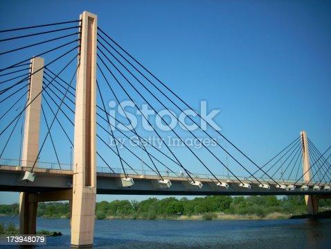 A generic suspension bridge. Milenium bridge in Wrocaaw