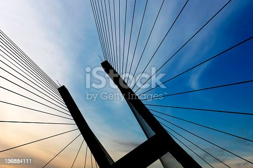 suspension bridge tower in close-up silhouette at dusk (XXL)