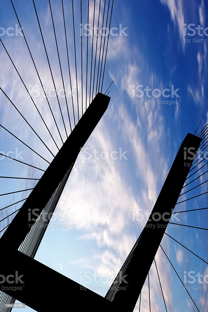 XXL suspension bridge silhouette stock photo