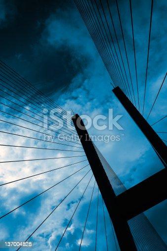 156725382 istock photo suspension bridge silhouette 137004828