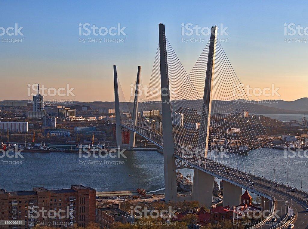 Suspension bridge through a bay in Vladivostok stock photo