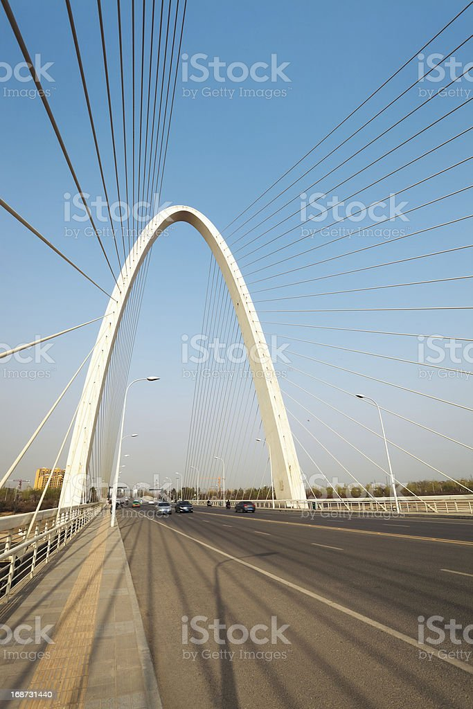 suspension cable stayed bridge in xian royalty-free stock photo