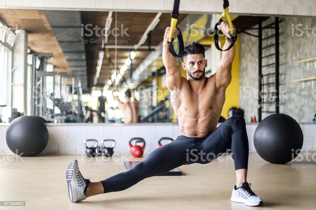 Suspension exercise with straps stock photo