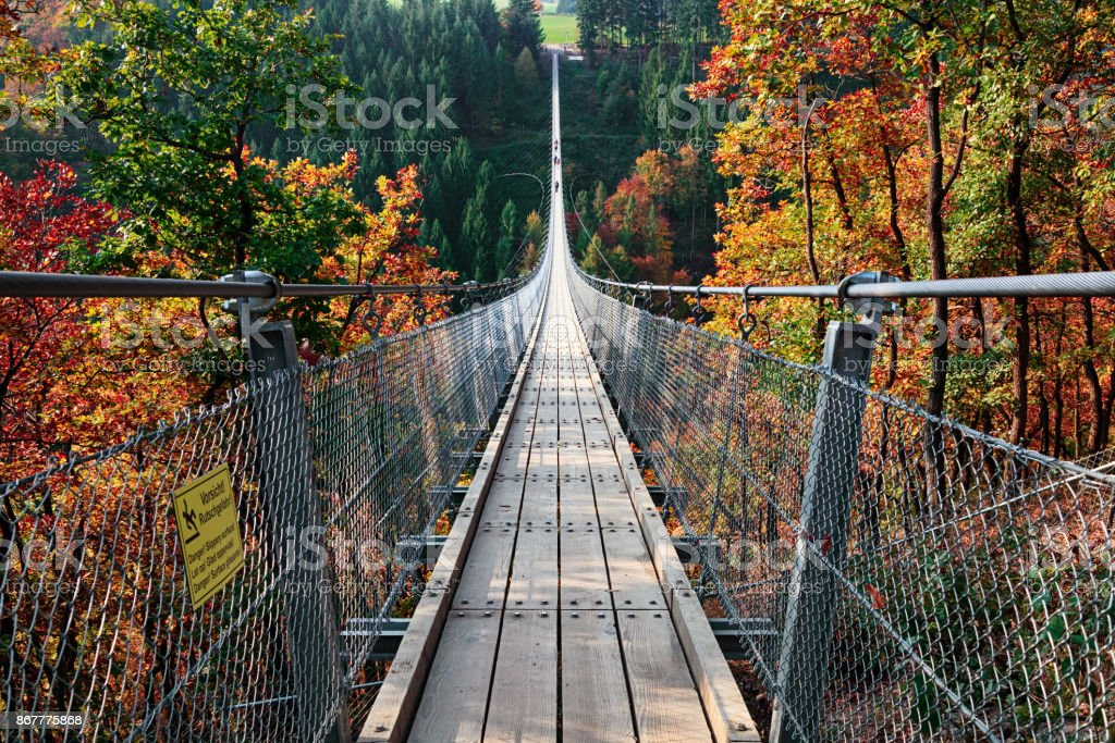Suspension footbridge Geierlay (Hangeseilbrucke Geierlay), Germany stock photo