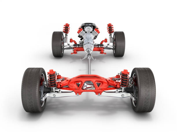 Suspension of the car with wheel and engine Undercarriage in detail isolated on white background 3d stock photo