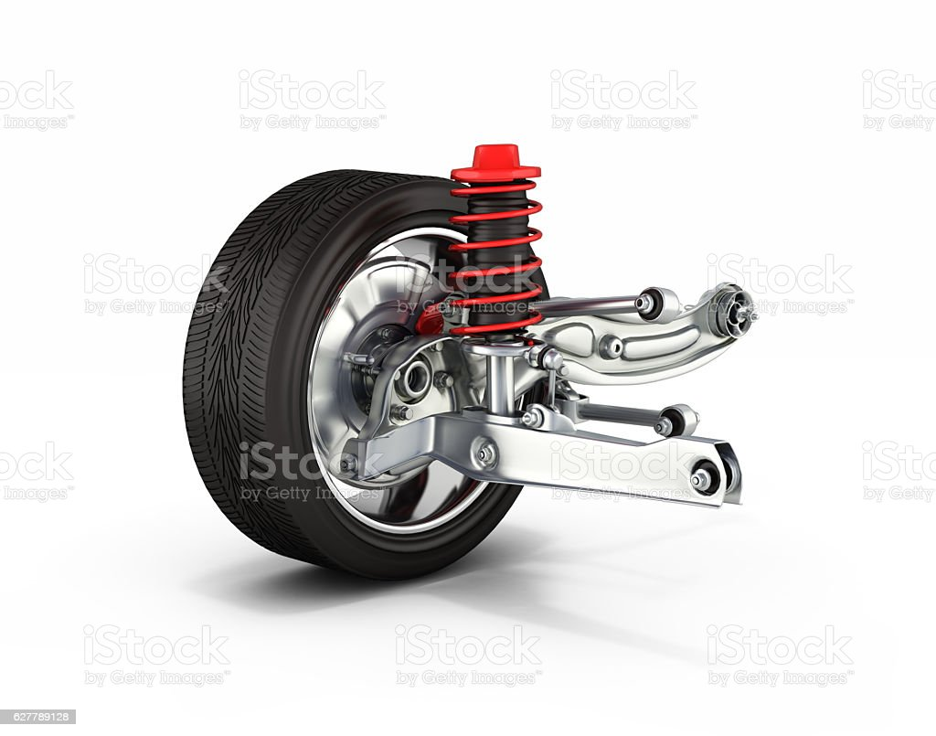 suspension of the car with wheel isolated on white background stock photo