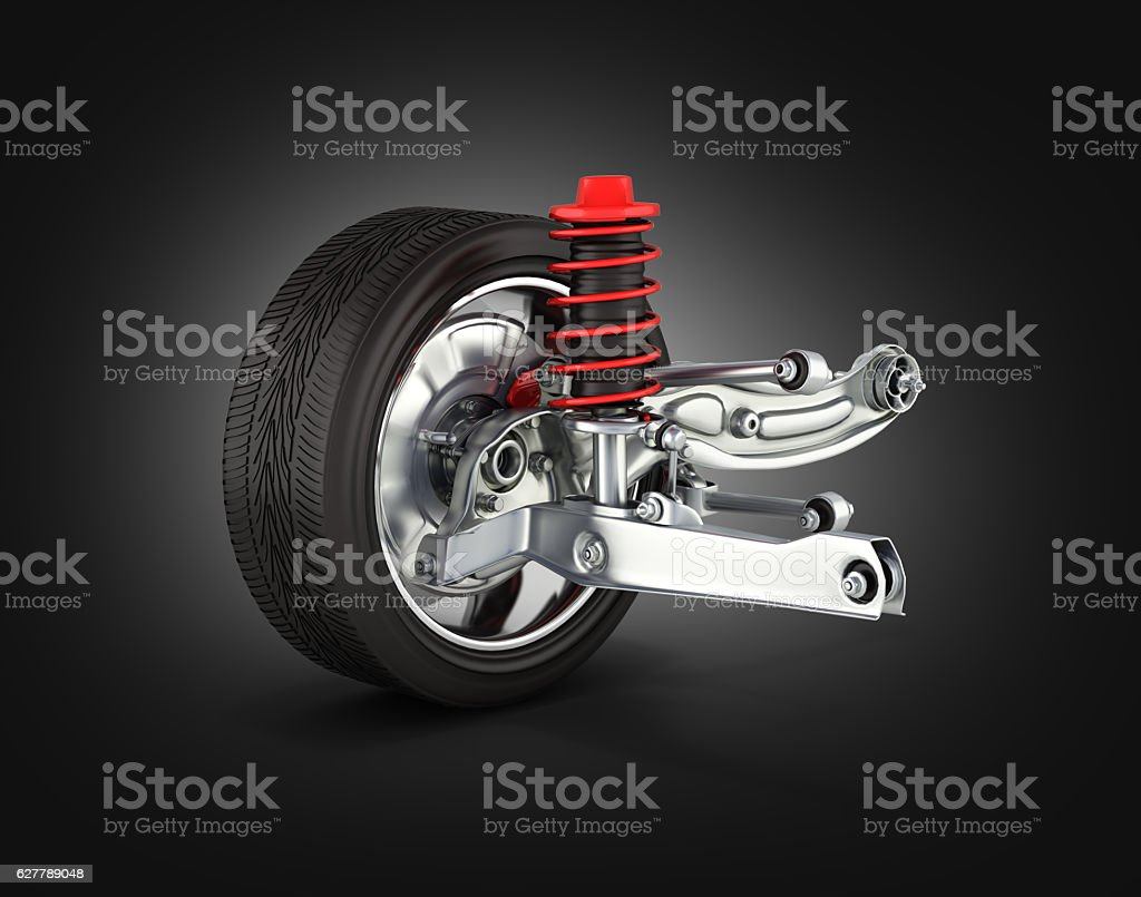 suspension of the car with wheel on black gradient background stock photo