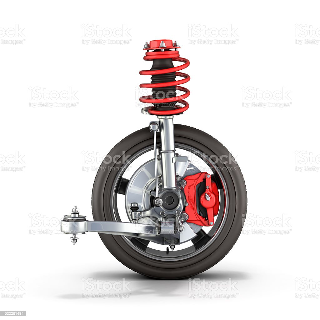 suspension of the car with wheel on white background stock photo
