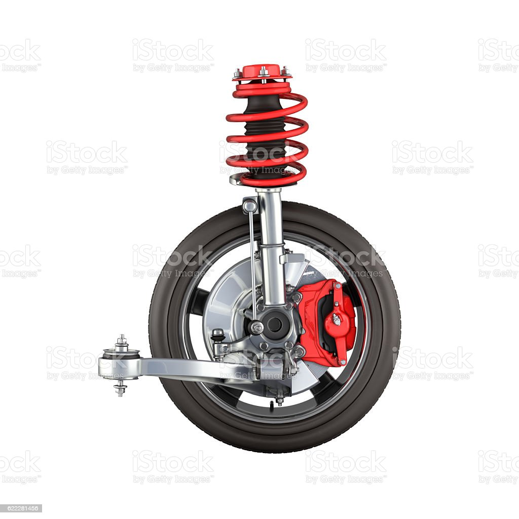 suspension of the car with wheel without shadow stock photo