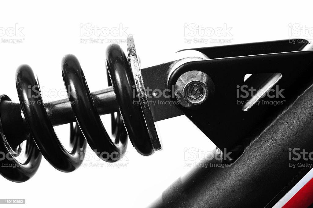 suspension spring of a mountain bike stock photo
