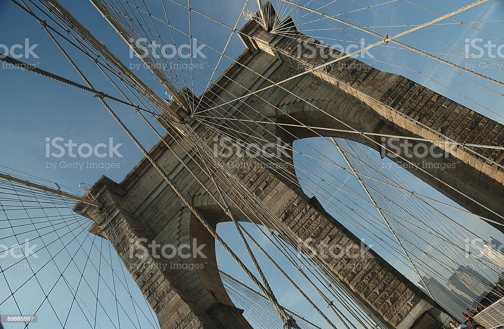 Подвесной проводов на Бруклинский мост, Нью-Йорк Стоковые фото Стоковая фотография