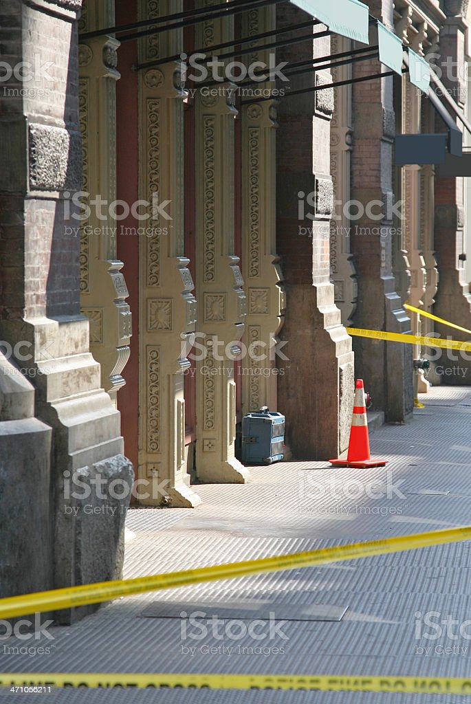 Suspicious Package Surrounded By Police Tape stock photo
