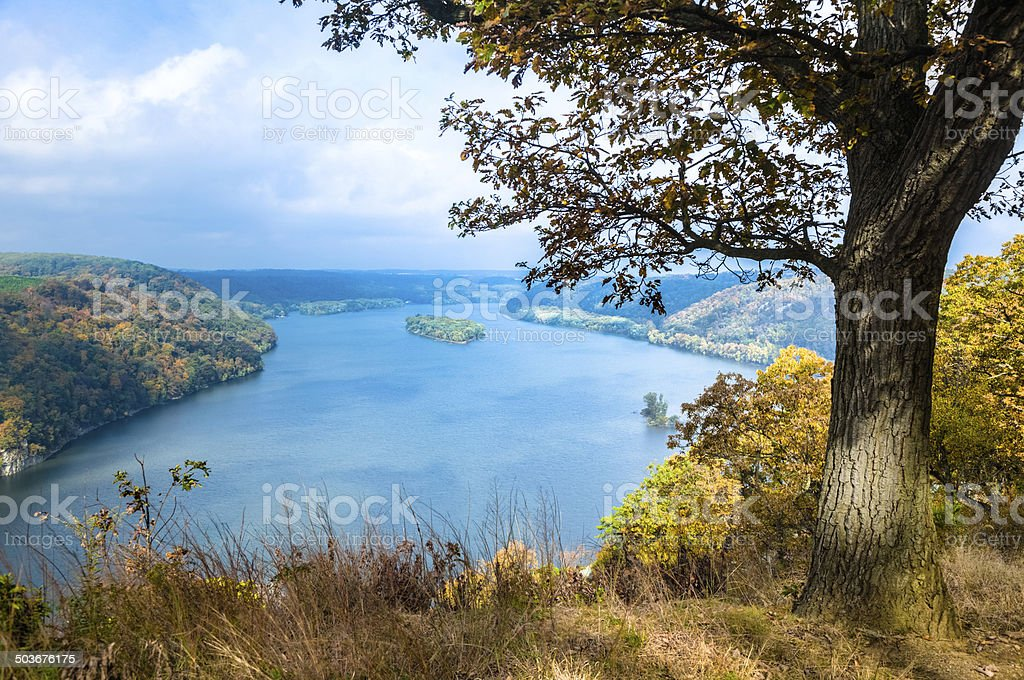 Susquehanna River from Pinnacle Overlook on an Autumn Day stock photo