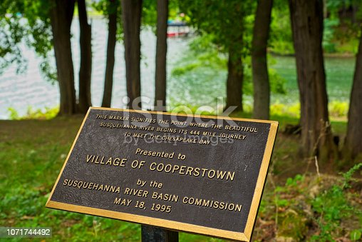 Public marker showing the start of the Susquehanna River from Otsego Lake in Cooperstown, NY