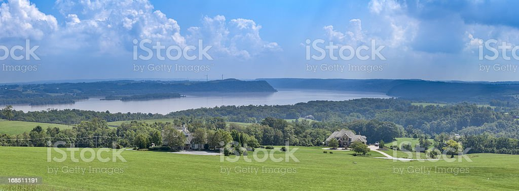 Susquehanna River Panorama from High Point During Flood of 2011 stock photo
