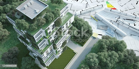 istock Sustainable apartment building project 1249999358
