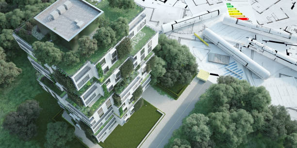 Sustainable apartment building project stock photo