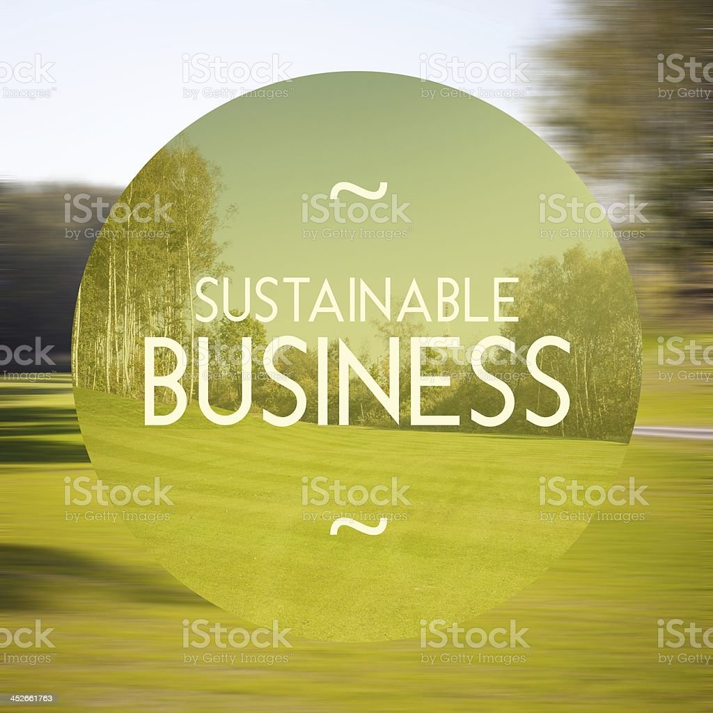 Sustainable busines poster illustration of eco-friendly stock photo