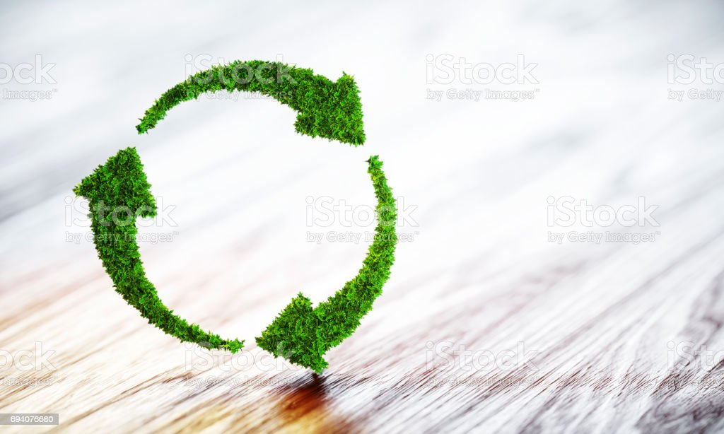 Sustainable development concept. 3D illustration on wooden background. - foto stock