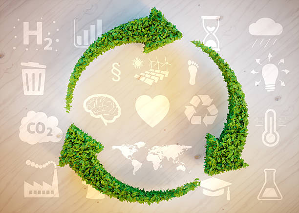 sustainable development concept - recycling heart bildbanksfoton och bilder