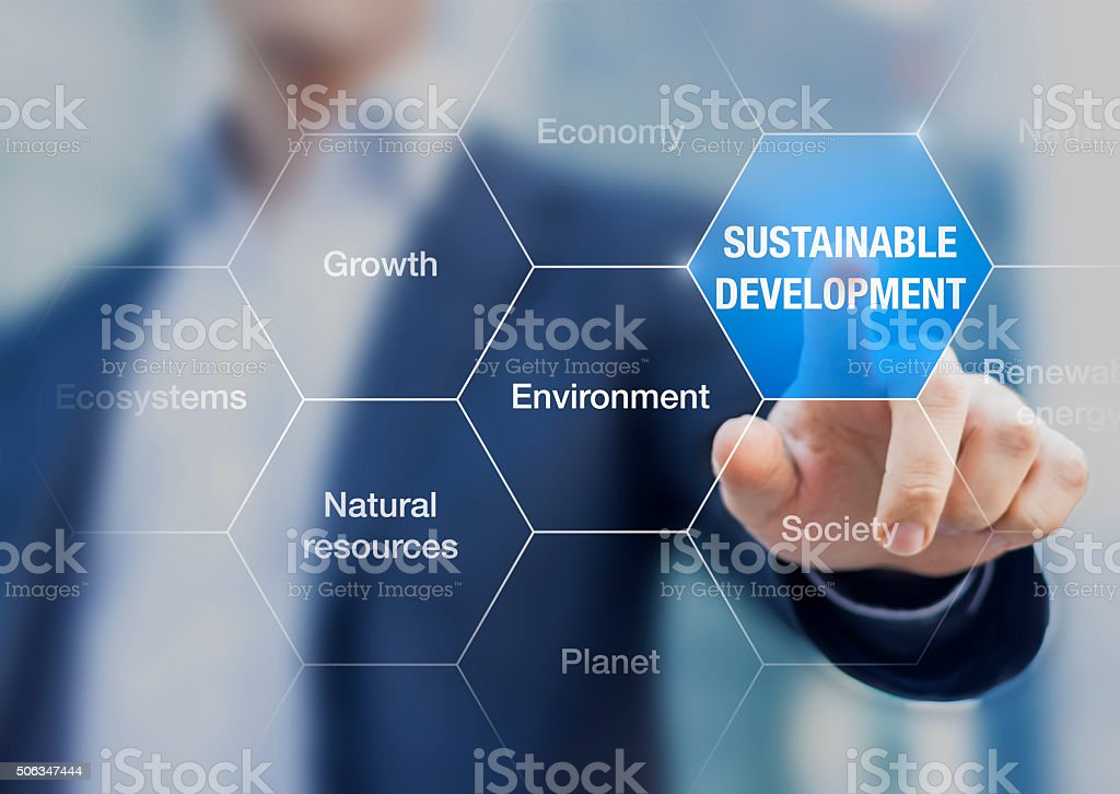 Sustainable development concept presented by a teacher on virtual screen stock photo
