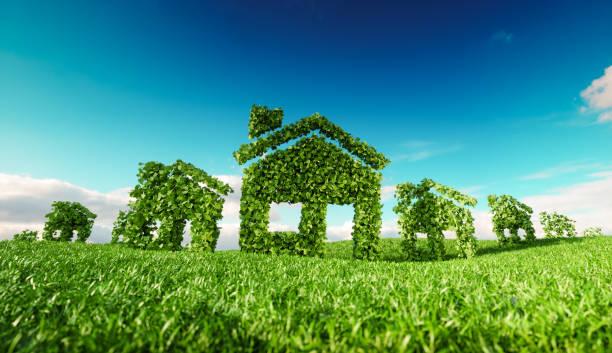 Nachhaltige Öko-Dorf-Konzept.  3D-Rendering haussymbole auf frische Frühlingswiese mit blauen Himmel im Hintergrund – Foto