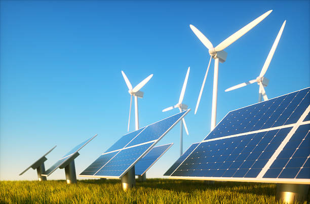 Sustainable energy concept 3d render image of grass field with photovoltaic and wind power plants wind power stock pictures, royalty-free photos & images