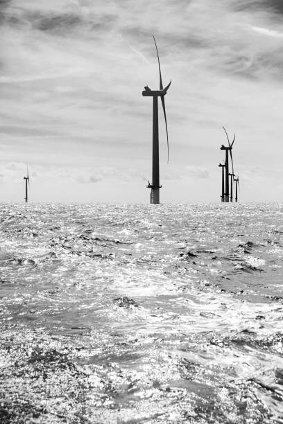 Sustainable energy off coast of Sussex near Brighton stock photo
