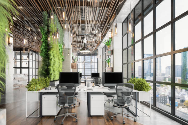 Sustainable Green Co-working Office Space stock photo